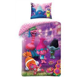 Halantex Dziecięca pościel bawełniana Trolls fioletowy, 140 x 200 cm, 70 x 90 cm