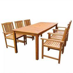 Zestaw mebli ogrodowych, 7 części, brązowy, drewno akacjowe