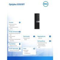 Optiplex 5050SFF Win10Pro i5-7500/256GB SSD/8GB/DVDRW/HD630/MS116/KB216/3Y NBD