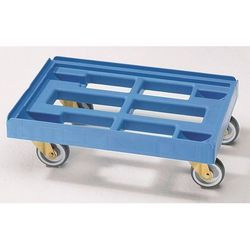 Wózek transportowy, dł. x szer. 610x410 mm, z HDPE, jasnoniebieski. Nieduży cięż