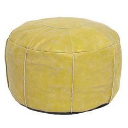 rustykalna pufa skórzana żółta ttp0015 marki Hk living
