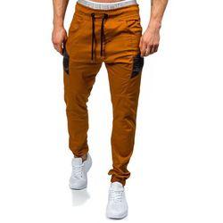 Brązowe spodnie joggery męskie Denley 0706 - BRĄZOWY, kolor brązowy