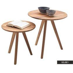 SELSEY Zestaw stolików Melogreno średnica 40 i 50 cm dąb sękaty (5903025427362)