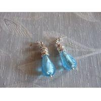 K-00074 Kolczyki - lampworki błękitne, kolor niebieski