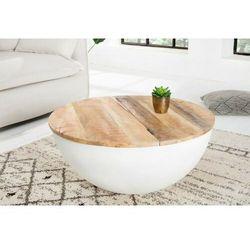 Invicta stolik kawowy industrial storage - 70cm, mango, biały, aluminium marki Sofa.pl