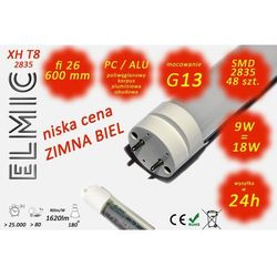 Świetlówka liniowa LED SMD 48 szt. XH T8-2835 fi 26x600 9W 230V 180st. 6500K Zimna Biel ELMIC - sprawdź w ELMIC
