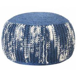 Niebieska pufa okrągła wełniana ręcznie pleciona - Hatino 3X, vidaxl_287606