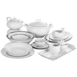 ĆMIELÓW YVONNE PLATYNOWA WSTĘGA Serwis obiadowy i herbaciany 86/12 G238