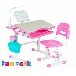 Fundesk Lavoro pink - regulowane biurko z krzesełkiem