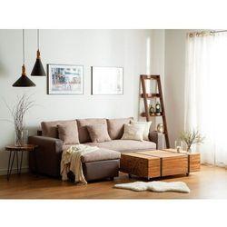 Sofa narożna prawostronna tapicerowana beżowa z funkcją spania TAMPERE