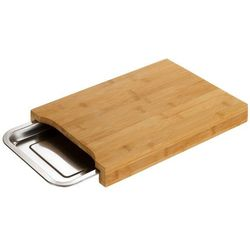 Solidna, prostokątna, bambusowa deska do krojenia, ze zintegrowaną, wysuwaną stalową tacą, duża powierzchnia robocza, marki Wenko