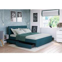 Łóżko 180x200 tapicerowane monza + 4 szuflady + materac lazurowe tkanina marki Big meble