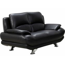 Sofa 2-osobowa z materiału skóropodobnego MUSKO - Czarny