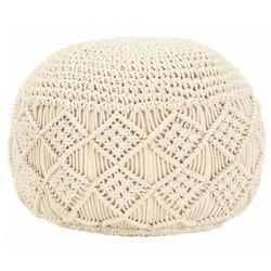 Okrągła pufa pleciona ręcznie - makramo 2x marki Elior