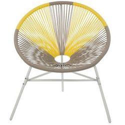 Beliani krzesło rattanowe beżowo-żółte acapulco
