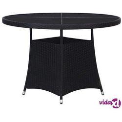 vidaXL Stół ogrodowy, czarny, 110 x 74 cm, rattan PE (8718475601500)
