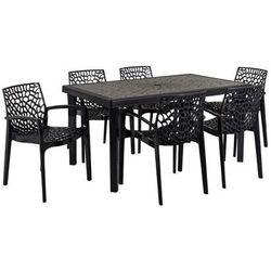 Jadalnia ogrodowa diademe – stół + 6 foteli – polipropylen – kolor szary antracytowy marki Vente-unique.pl