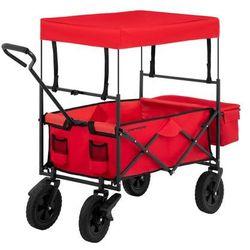 Wózek ogrodowy składany - 100 kg - czerwony - hamulce marki Uniprodo