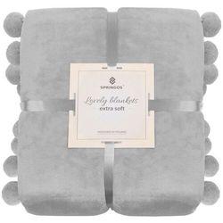 Springos Narzuta na łóżko z dużymi pomponami, pled 160x200 cm koc na kanapę jasny szary (5907719414683)