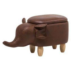 Beliani Pufa imitacja skóry ciemnobrązowa elephant