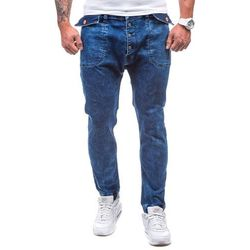 Granatowe spodnie jeansowe joggery męskie Denley 811 - GRANATOWY, spodnie męskie OTANTIK