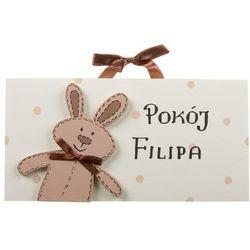 Ozdoba ręcznie malowana  (z personalizacją) - tabliczka na drzwi z królikiem marki Coloriko