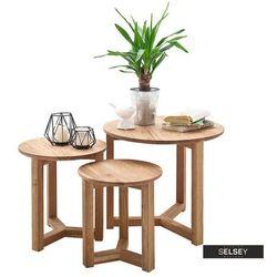 Selsey zestaw trzech stolików aventra o średnicy 30,35 i 50 cm dąb sękaty