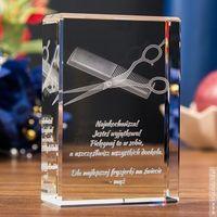 Nożyczki i grzebień 3D • personalizowany kryształ 3D • GRAWER 3D