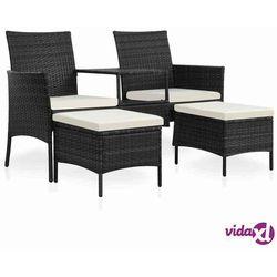 Vidaxl 2-os. sofa ogrodowa ze stolikiem i podnóżkami, rattan pe, czerń (8718475697251)