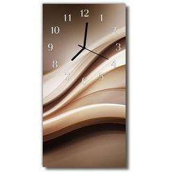 Zegar Szklany Pionowy Abstrakcja grafika linie brązowy, kolor brązowy