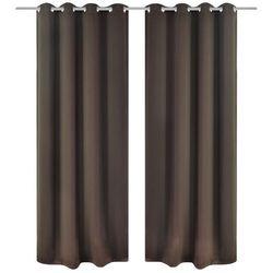 vidaXL Brązowe zasłony zaciemniające z metalowymi otworami x2 135 x 245 cm