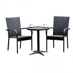 Komplet mebli ogrodowych stolik z krzesłami mawet z technorattanu czarny marki Bello giardino