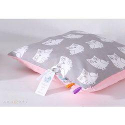 poduszka minky dwustronna 40x40 sowa szara / jasny róż marki Mamo-tato