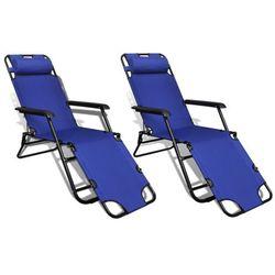 vidaXL Leżak plażowo-ogrodowy, niebieski, dwie sztuki ()