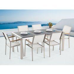 Meble ogrodowe - stół granitowy 180 cm czarny palony z 6 białymi krzesłami - GROSSETO (7081457090502)