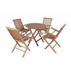 Komplet 4 x składane krzesła 1 x stół DIVERO z drewna tekowego