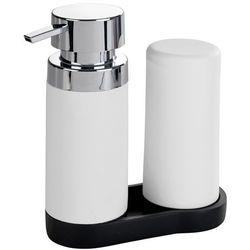 Wenko Dozownik do mydła w płynie i pojemnik na kosmetyki easy squeez-e, kolor biały, silikon, plastik, podstawa, zestaw 2w1, marka (4008838235997)