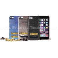 PURO GLAM Chain - Etui iPhone 6 z 2 kieszeniami na karty w/silver chain (czarny), kolor czarny