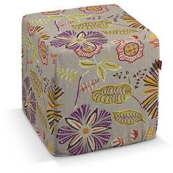 pufa kostka twarda, pomarańczowo-fioletowe kwiaty na lnianym tle, 40x40x40 cm, etna marki Dekoria