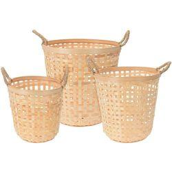 Okrągły kosz bambusowy na pranie - 3 sztuki w zestawie
