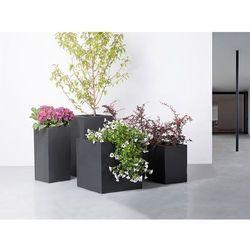 Doniczka - czarna - ogrodowa - balkonowa - ozdobna - 30x30x60 cm - wener wyprodukowany przez Beliani
