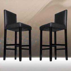 2x krzeslo barowe drewno skóra czarne, marki Jago