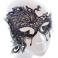 Faux lace peacock feather party mask od producenta Sammydress