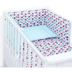 Mamo-tato dwustronna rozbieralna pościel 3-el kolorowe serduszka / turkus do łóżeczka 60x120cm