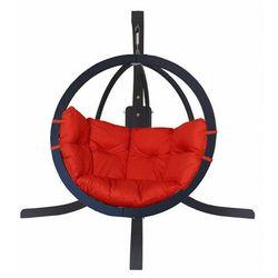 Producent: elior Antracytowy fotel bujany z czerwoną poduszką - parys 4x