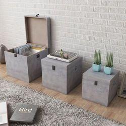 3 pudła do przechowywania z mdf w kolorze szarego betonu marki Vidaxl