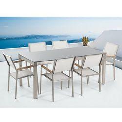 Meble ogrodowe - stół granitowy - cała płyta - 180 cm szary polerowany z 6 białymi krzesłami - grosseto marki Beliani