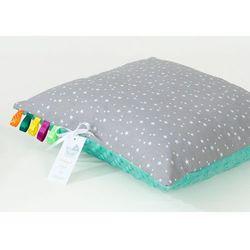 poduszka minky dwustronna 40x40 mini gwiazdki białe na szarym / miętowy marki Mamo-tato