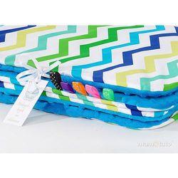 kocyk minky dla dzieci 100x135 zygzak niebiesko-zielony / niebieski marki Mamo-tato