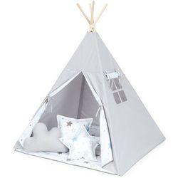 MAMO-TATO Namiot TIPI DUŻY z matą i poduszkami Popiel / gwiazdozbiór niebieski